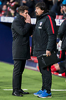 Atletico de Madrid coach Diego Pablo Simeone talking with assistant coach Mono Burgos during La Liga match between Atletico de Madrid and Valencia C.F. at Wanda Metropolitano in Madrid , Spain. February 04, 2018. (ALTERPHOTOS/Borja B.Hojas)