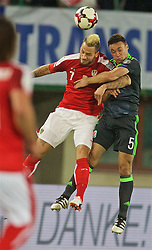 VIENNA, AUSTRIA - Thursday, October 6, 2016: Wales' James Chester in action against Austria's Marko Arnautovic during the 2018 FIFA World Cup Qualifying Group D match at the Ernst-Happel-Stadion. (Pic by David Rawcliffe/Propaganda)