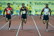 PRETORIA. SOUTH AFRICA: Thursday 5 April 2012, 100m athletes Thuso Mpuang (131) ,Roscoe Engel (91) and Simon Magakwe (151) during the Yellow Pages Inter-club athletic meeting held at the ABSA-Tuks stadium, Tshwane..Photo by : ImageSA