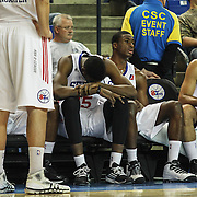 Delaware 87ers Forward Norvel Pelle (15) seen resting on the bench in the second half of a NBA D-league regular season basketball game between Delaware 87ers and The Fort Wayne Mad Ants Sunday, Dec. 15, 2013 at The Bob Carpenter Sports Convocation Center, Newark, DE