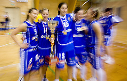 Team of Celje celebrate with the Cup at finals match of Slovenian 1st Women league between KK Hit Kranjska Gora and ZKK Merkur Celje, on May 14, 2009, in Arena Vitranc, Kranjska Gora, Slovenia. Merkur Celje won the third time and became Slovenian National Champion. (Photo by Vid Ponikvar / Sportida)