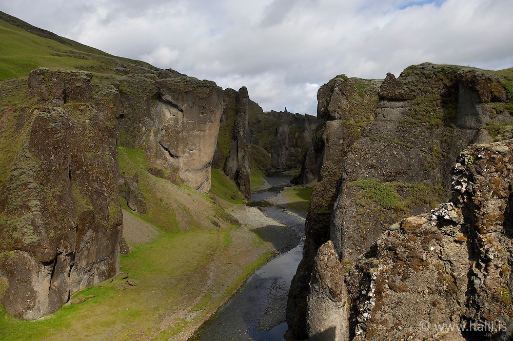 The canyon, Fjadrargljufur near Kirkjubaejarklaustur on the south coast of Iceland - Fjaðrárgljúfur við Kirkjubæjarklaustur