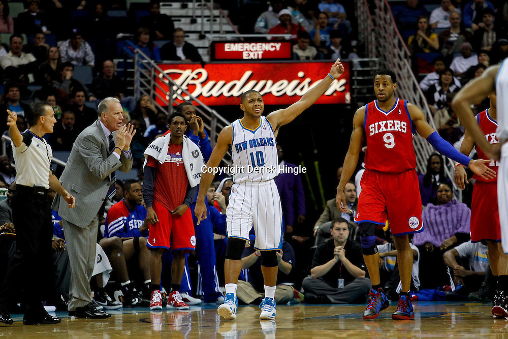 January 4, 2012; New Orleans, LA, USA; New Orleans Hornets shooting guard Eric Gordon (10) reacts to an officials call during the second half of a game against the Philadelphia 76ers at the New Orleans Arena. The 76ers defeated the Hornets 101-93.  Mandatory Credit: Derick E. Hingle-US PRESSWIRE