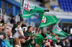 A general view of London Irish supporters - Photo mandatory by-line: Patrick Khachfe/JMP - Mobile: 07966 386802 12/04/2015 - SPORT - RUGBY UNION - Reading - Madejski Stadium - London Irish v Sale Sharks - Aviva Premiership