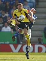 Photo: Steve Bond/Richard Lane Photography. Leicester City v Watford. Coca Cola Championship. 17/04/2010. Danny Graham (front) and Wayne Brown tussle for the ball