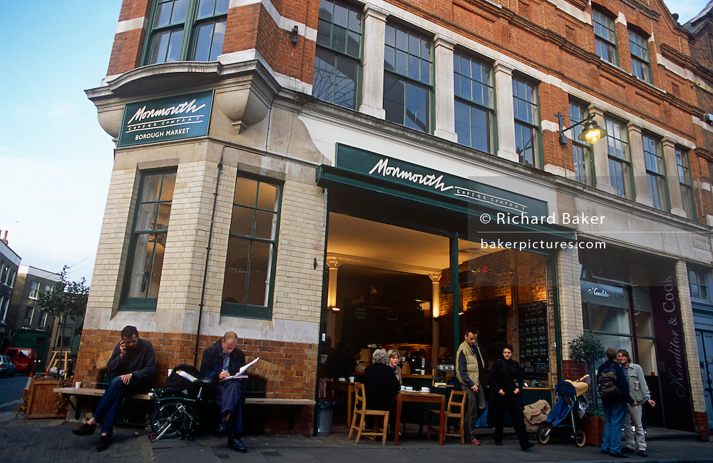 The Borough Monmouth Coffee Company in Borough Market, Southwark, London. Their second shop opened is on the corner of Park and Stoney Streets in 2001 - fast-becoming a much-appreciated place to buy the most flavoursome roasted beans. The coffees on our counter are delivered every day from our roasting site in Bermondsey. They make single cone filter coffee and espresso based drinks. Organic Jersey whole milk is from Jeff Bowles in Somerset and organic whole cane sugar from Assukkar, Costa Rica.