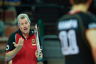Germany's trainer coach Vital Heynen speaks with his players while volleyball match between Germany and Iran during the 2014 FIVB Volleyball World Championships at Spodek Hall in Katowice on September 17, 2014.<br /> <br /> Poland, Katowice, September 17, 2014<br /> <br /> For editorial use only. Any commercial or promotional use requires permission.<br /> <br /> Mandatory credit:<br /> Photo by © Adam Nurkiewicz / Mediasport