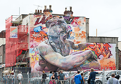 © Licensed to London News Pictures. 24/07/2016. Bristol, UK.  Upfest street art festival 2016, Europe's largest, free, street art & graffiti festival, attracting over 300 artists painting 28 venues throughout Bedminster & Southville, Bristol.  Photo credit : Simon Chapman/LNP