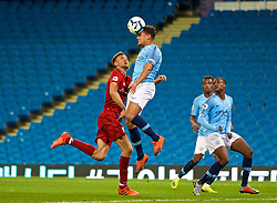 MANCHESTER, ENGLAND - Friday, August 24, 2018: Liverpool's Nathaniel Phillips and Manchester City's captain Joel Latibeaudiere during the Under-23 FA Premier League 2 Division 1 match between Manchester City FC and Liverpool FC at the City of Manchester Stadium. (Pic by David Rawcliffe/Propaganda)