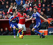 Charlton Athletic Ademola Lookman taking on Ipswich midfielder Cole Skuse during the Sky Bet Championship match between Charlton Athletic and Ipswich Town at The Valley, London, England on 28 November 2015. Photo by Matthew Redman.