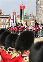 Guards lines the street for the state carriage procession in Windsor of The Queen and The President of the United Arab Emirates, Sheikh Khalifa bin Zayed Al Nahyan on  the first day of his State Visit to the UK, Tuesday, 30th April 2013 Photo by: Stephen Lock / i-Images