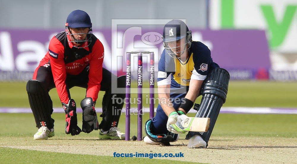 Ian Bell (r) of Birmingham Bears batting during the Natwest T20 Blast match at Emirates Durham ICG, Chester-le-Street<br /> Picture by Simon Moore/Focus Images Ltd 07807 671782<br /> 06/06/2015