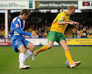 Hartlepool - Saturday August 29th, 2009: Antony Sweeney of Hartlepool (L) and Stephen Hughes of Norwich City during the Coca Cola League One match at Victoria Park, Hartlepool. (Pic by Jed Wee/Focus Images)..
