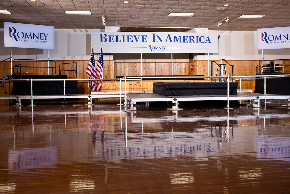 The stage following a campaign rally by Republican presidential candidate Mitt Romney at the Mississippi Valley Fairgrounds on Monday, January 2, 2012 in Davenport, IA.