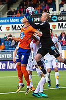 1. divisjon fotball 2018: Aalesund - Levanger (4-0). Aalesunds Holmbert Fridjonsson og keeper Julian Faye Lund i kampen i 1. divisjon i fotball mellom Aalesund og Levanger på Color Line Stadion.