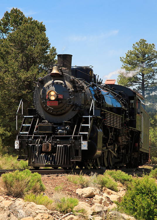Engine 4960, a steam train, delivering tourists to the South Rim of Grand Canyon National Park.