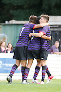 Picture by David Horn/Focus Images Ltd. 07545 970036.04/08/12.Arsenal players Josh Ress (left) and Hector Bellerin celebrate Phillip Robert's (centre) goal during a friendly match at The Meadow, Chesham.