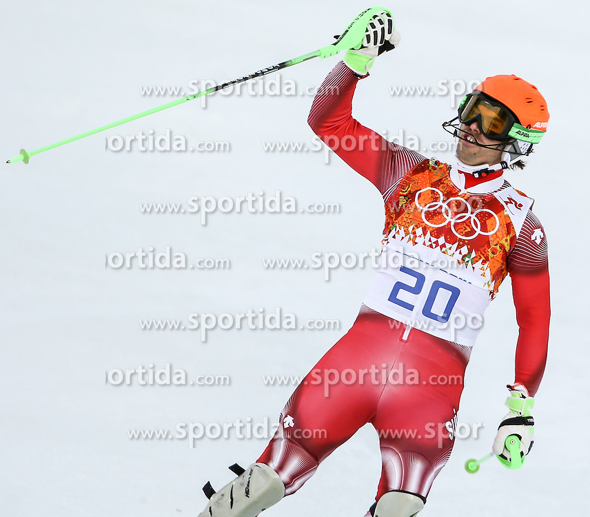 14.02.2014, Rosa Khutor Alpine Center, Krasnaya Polyana, RUS, Sochi, 2014, im Bild Olympia Sieger Sandro Viletta (SUI) // Olympic Champion Sandro Viletta of Switzerland during the Slalom of the mens Super Combined of the Olympic Winter Games 'Sochi 2014' at the Rosa Khutor Alpine Center, Krasnaya Polyana, Russia on 2014/02/14. EXPA Pictures &copy; 2014, PhotoCredit: EXPA/ Minkoff<br /> <br /> *****ATTENTION - OUT of GER*****