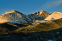 14,255 ft. Longs Peak (center),  13,911 ft. Mount Meeker (left), 12,281 ft. Mount Lady Washington (right). Rocky Mountain National Park, Colorado.