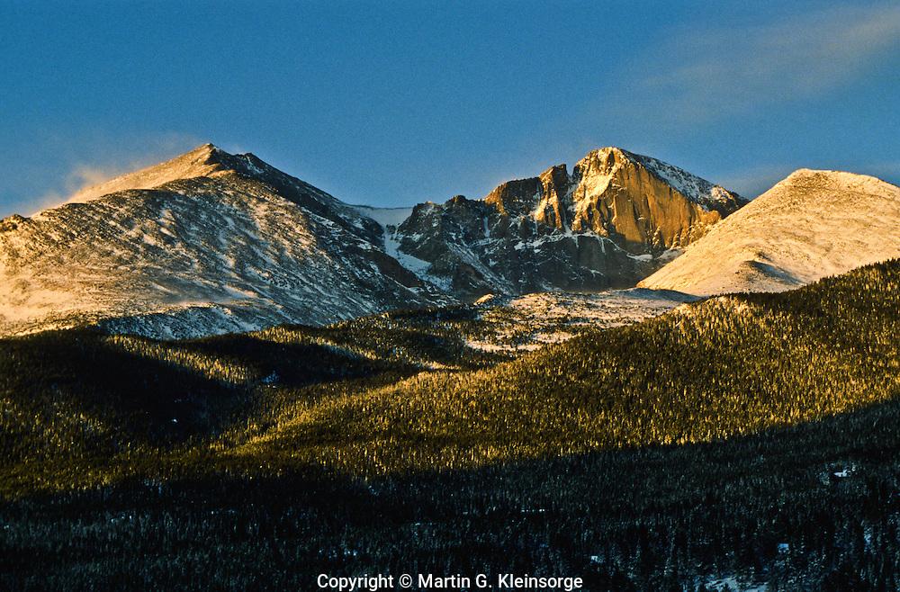 14,255 ft. Longs Peak (center),  13,911 ft. Mount Meeker (left), 12,281 ft. Mount Lady Washington (right). Rocky Mountain National Park, Colorado.
