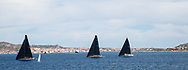From Left to Right: LYRA, NAHITA and J ONE during the Rolex Maxi Cup 2017, Costa Smeralda, Porto Cervo Yacht Club Costa Smeralda (YCCS), Sardinia, Italy.
