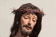 Statue of Christ with the crown of thorns, in the Monasterio de San Jeronimo, or Monastery of St Jerome, 16th century Roman Catholic church and Hieronymite monastery founded by the Catholic monarchs in Santa Fe, Granada, Andalusia, Southern Spain. Granada was listed as a UNESCO World Heritage Site in 1984. Picture by Manuel Cohen