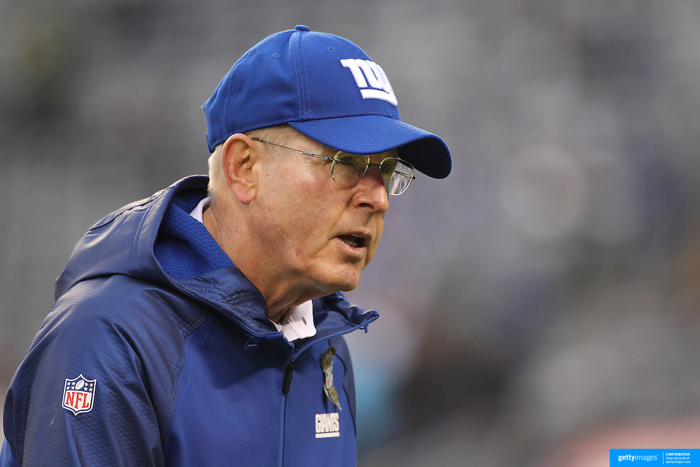Tom Coughlin, head coach of the New York Giants during warm up before the New York Giants Vs Green Bay Packers, NFL American Football match at MetLife Stadium, East Rutherford, New Jersey, USA. 17th November 2013. Photo Tim Clayton