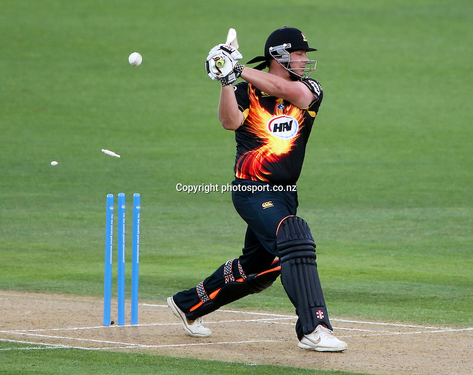 Wellington's Jesse Ryder is bowled in the HRV Cup T20 cricket match between the Central Districts Stags and the Wellington Firebirds at McLean Park, Napier, New Zealand. Friday, 07 December, 2012. Photo: John Cowpland / photosport.co.nz