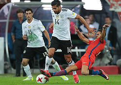 July 2, 2017 - Saint Petersburg, Russia - Lars Stindl (L), Emre Can of the Germany national football team and Alexis Sanchez (R) of the Chile national football team vie for the ball during the 2017 FIFA Confederations Cup final match between Chile and Germany at Saint Petersburg Stadium on July 02, 2017 in St. Petersburg, Russia. (Credit Image: © Igor Russak/NurPhoto via ZUMA Press)