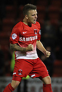 Picture by David Horn/Focus Images Ltd +44 7545 970036<br /> 17/09/2013<br /> Dean Cox of Leyton Orient celebrates victory after the Sky Bet League 1 match at the Matchroom Stadium, London.