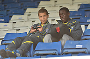 young bury fans relax  before the Sky Bet League 1 match between Bury and Port Vale at Gigg Lane, Bury, England on 19 September 2015. Photo by Mark Pollitt.