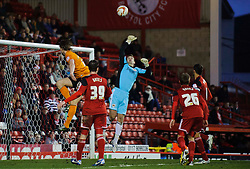 Bristol City Goalkeeper Thomas Heaton (ENG) punches away a header from Wolves Forward Bjorn Bergmann Sigurdarson (ISL) during the second half of the match - Photo mandatory by-line: Rogan Thomson/JMP - Tel: Mobile: 07966 386802 01/12/2012 - SPORT - FOOTBALL - Ashton Gate - Bristol. Bristol City v Wolverhampton Wanderers - npower Championship.