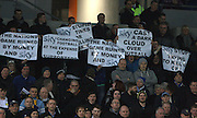 Leeds fans protest against Sky TV during the Sky Bet Championship match between Brighton and Hove Albion and Leeds United at the American Express Community Stadium, Brighton and Hove, England on 29 February 2016. Photo by Bennett Dean.
