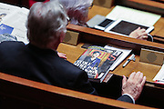 The opening of the study of a new law/bill to change the French Constitution so as to allow the lost of nationality in case of terrorism  it seems the MP's in France had other more interesting things to do in these funny images from French Parliament show as they look on iPads Read papers one member even falling asleep!<br /> ©Exclusivepix Media