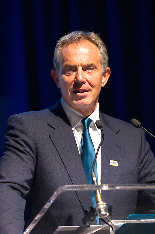 Former British Prime Minister Tony Blair giving the keynote address at  Voices of September 11th Always Remember Benefit in New York City.