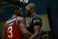 things get heated between Fred Thomas of Bristol Flyers and Tayo of Surrey Scorchers - Photo mandatory by-line: Arron Gent/JMP - 07/12/2019 - BASKETBALL - Surrey Sports Park - Guildford, England - Surrey Scorchers v Bristol Flyers - British Basketball League Championship