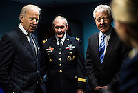 WASHINGTON, DC - MARCH 14:  (L-R) Vice President Joe Biden, Chairman of the Joint Chiefs of Staff U.S. Army General Martin Dempsey, and Secretary of Defense Chuck Hagel talk backstage before a ceremonially swearing in at the Pentagon on Thursday, March 14, 2013. (Photo by Melina Mara/The Washington Post)