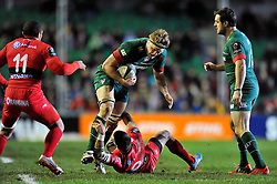 Jamie Gibson of Leicester Tigers is tackled by Sebastien Tillous-Borde of Toulon - Photo mandatory by-line: Patrick Khachfe/JMP - Mobile: 07966 386802 07/12/2014 - SPORT - RUGBY UNION - Leicester - Welford Road - Leicester Tigers v Toulon - European Rugby Champions Cup