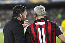 November 8, 2018 - Seville, Spain - GENNARO GATTUSO, head coach of Milan, (L) speaks to FABIO BORINI of Milan (R) during the Europa League Group F soccer match between Real Betis and AC Milan at the Benito Villamarin Stadium (Credit Image: © Daniel Gonzalez Acuna/ZUMA Wire)