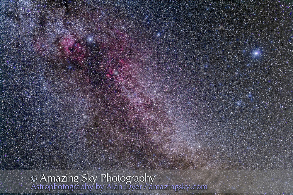 Cygnus and Lyra, in a stack of 5 x 4 minute exposures with the Canon 5D MkII at ISO 800 and 50mm Sigma lens at f/3.2. Plus two exposures taken thru the Kenko Softon filter for the star glows. Takes in the North America Nebula at top left and Gamma Cygni nebulosity left of centre. The Cygnus Starcloud is at centre. The Veil Nebula is at lower left. Deneb is at upper left, Vega at upper right. The Kepler field is at top, the area surveyed by the NASA Kepler exoplanet search satellite. Taken from home Sept, 29, 2013.