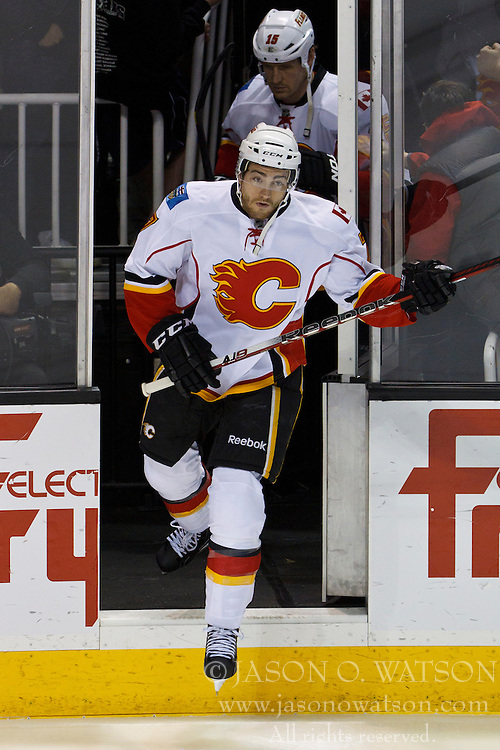 Jan 17, 2012; San Jose, CA, USA; Calgary Flames defenseman T.J. Brodie (7) enters the ice before the game against the San Jose Sharks at HP Pavilion. San Jose defeated Calgary 2-1 in shootouts. Mandatory Credit: Jason O. Watson-US PRESSWIRE