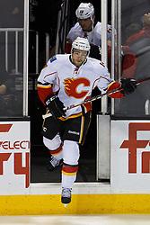 Jan 17, 2012; San Jose, CA, USA; Calgary Flames defenseman T.J. Brodie (7) enters the ice before the game against the San Jose Sharks at HP Pavilion. San Jose defeated Calgary 2-1 in shootouts. Mandatory Credit: Jason O. Watson-US PRESSWIRE