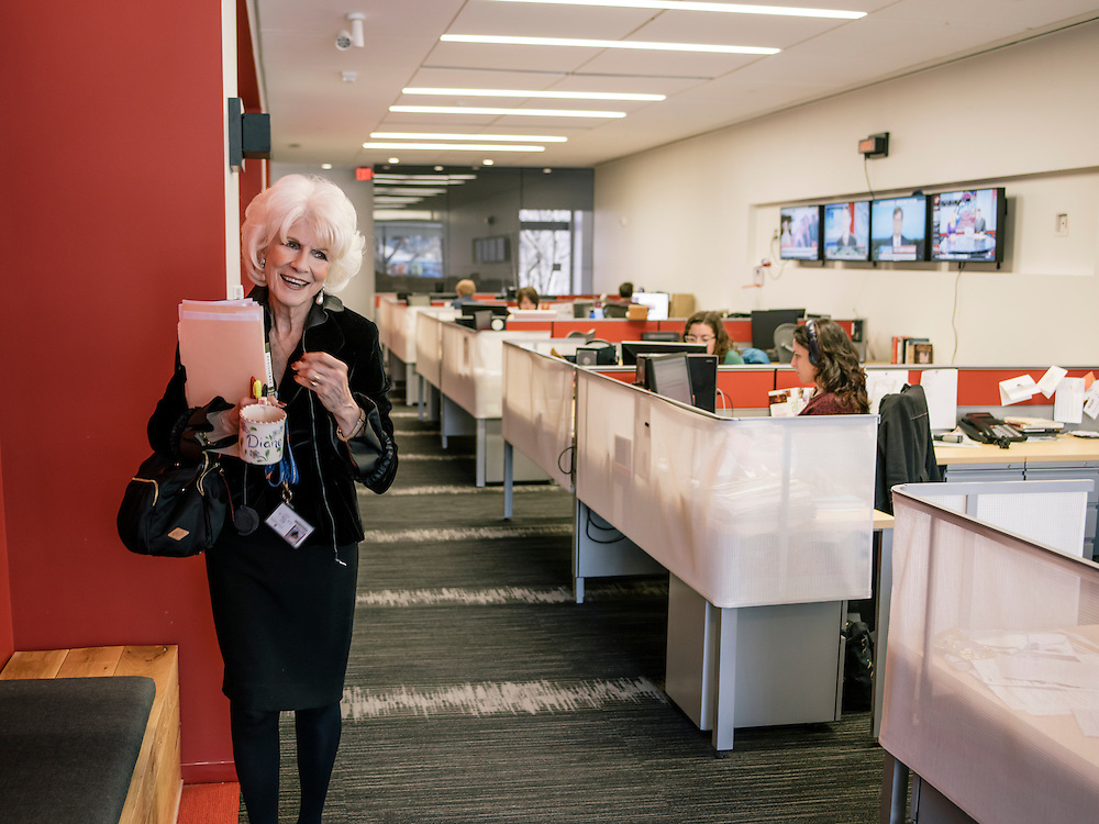 Diane Rehm, of the Diane Rehm Show on WAMU in Washington, D.C. heads back to her office after finishing her daily broadcast.