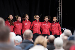 Cervélo Bigla are presented to the crowds at the Women's Ronde van Vlaanderen 2017 Team Presentation.