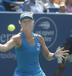 August 19, 2018 - Mason, Ohio - Kiki Bertens hits the ball while taking on Simona Halep at the Western and Southern Open at the Lindner Family Tennis Center in Mason, Ohio on Sunday, August 19, 2018.  Bertens won the match 2-6, 7-6, 6-2.  The Cincinnati Masters is an annual outdoor hardcourt tennis event held in Mason near Cincinnati, Ohio. The event started on September 18, 1899 and is the oldest tennis tournament in the United States played in its original city. (Credit Image: © Leigh Taylor via ZUMA Wire)