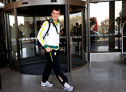 Goalkeeper of Slovenia Jasmin Handanovic at departure of Slovenia National team from Southern Sun Hyde Park Hotel to airport for flight home after the last 2010 FIFA World Cup South Africa Group C  match between Slovenia and England on June 25, 2010 at Southern Sun Hyde Park Hotel, Johannesburg, South Africa. (Photo by Vid Ponikvar / Sportida)