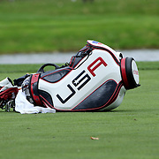 Ryder Cup 2016.  A United States golf club bag belong to Jordan Spieth on the course during practice day at the Hazeltine National Golf Club on September 28, 2016 in Chaska, Minnesota.  (Photo by Tim Clayton/Corbis via Getty Images)