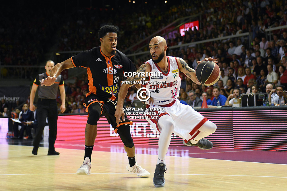 D.J. Stephens of Le Mans and David Logan of Strasbourg during the Jeep Elite match between Strasbourg and Le Mans on June 2, 2018 in Strasbourg, France. (Photo by Sebastien Bozon/Icon Sport)