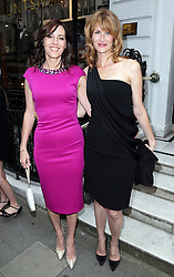 Image licensed to i-Images Picture Agency. 16/06/2014. Gregory Peck's daughter Cecilia Peck (left) and actress Laura Dern arriving for the launch of a Gregory Peck exhibition at the Huntsman tailors in Savile Row, London, to celebrate five decades of dressing the Hollywood actor. Picture by Stephen Lock / i-Images
