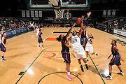 February 20, 2014: Shakeya Leary #34 of Syracuse blocks the shot from Jassany Williams #21 of Miami during the NCAA basketball game between the Miami Hurricanes and the Syracuse Orange at the Bank United Center in Coral Gables, FL. The Orange defeated the Hurricanes 69-48.
